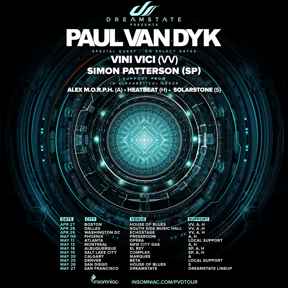 Paul van Dyk Announces U.S Tour - Powered by Insomniac's Dreamstate Trance Brand