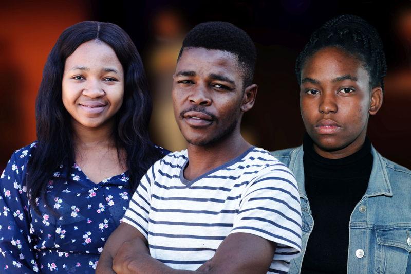 L-R Amanda Nkwatheni, Luthando Mvandaba and Khayisa Duda - the cast of Amkil'amantombazana