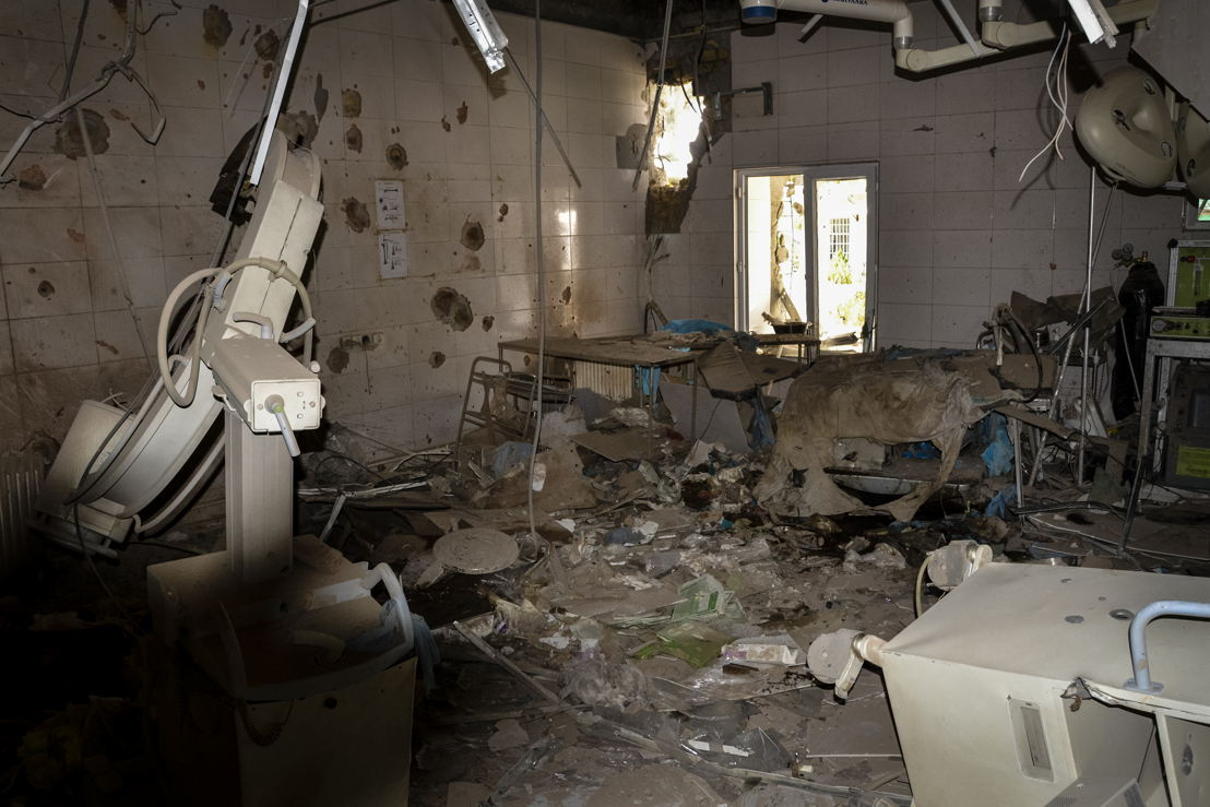 De operatiezaal van het traumacentrum in Kunduz na de vernietiging © Dan Sermand