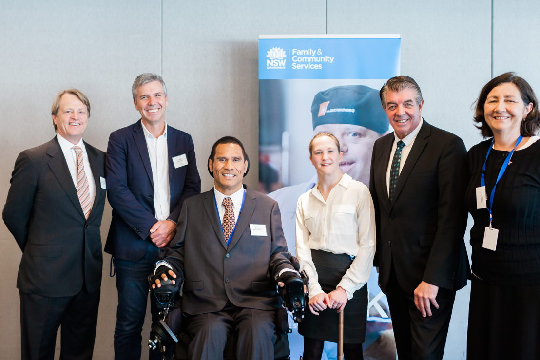 David Haslingden, Deputy Chairman at Blue Ant Media, Steve Bibb, Head of Factual ABC TV, Mark Tonga, Chair at Disability Council NSW, Zoe Brissett Disability Council NSW member, Ray Williams Minister for Disability Services and Jenni Wilks Employable Me Series Producer, Northern Pictures