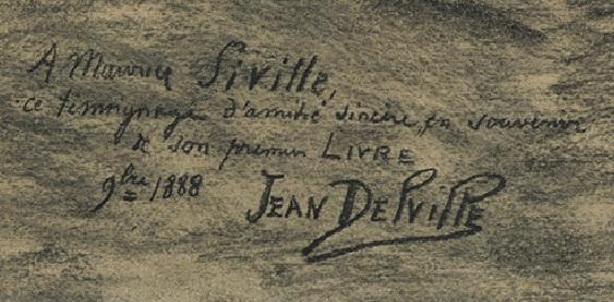 La dédicace à Maurice Siville (détail du dessin, SIII 41961, Bibliothèque royale de Belgique)