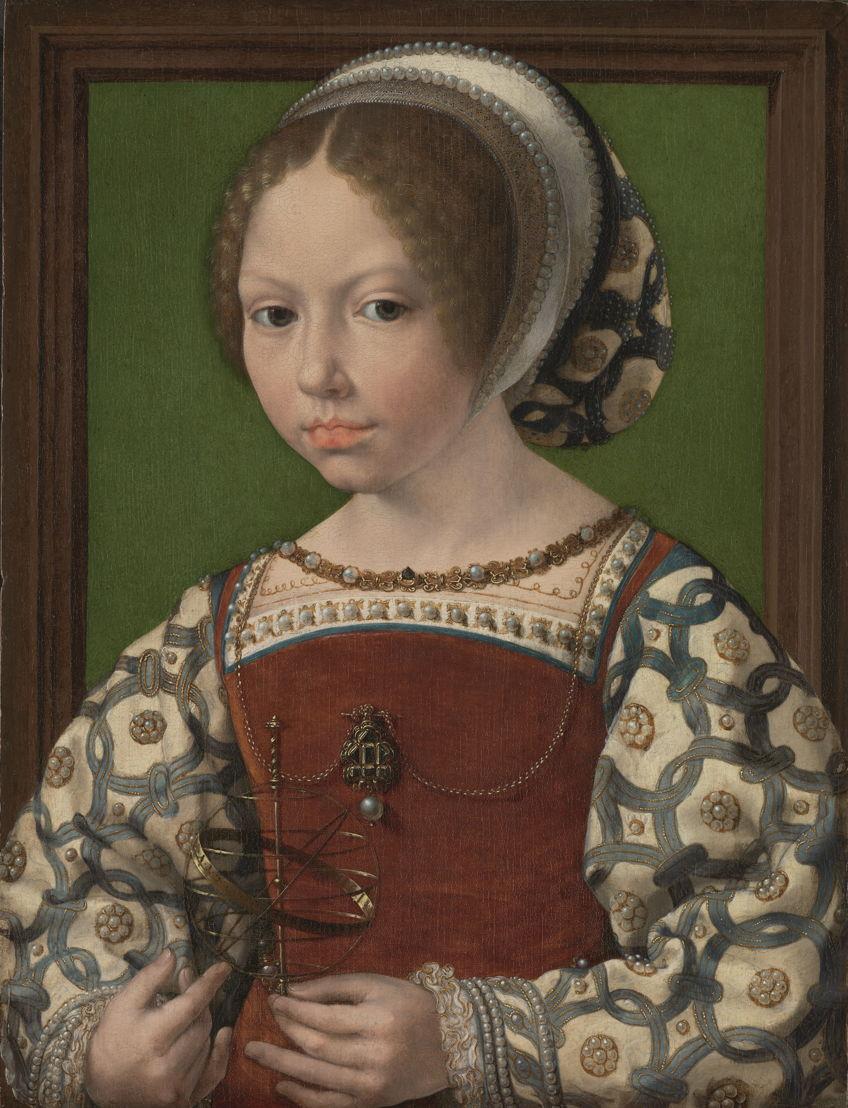© Jan Gossaert, Portret van een meisje met een armillarium (prinses Dorothea van Denemarken), ca. 1530. Londen, National Gallery.