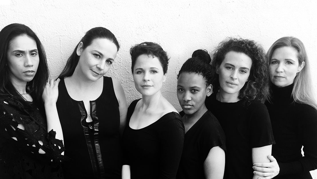 V-Day 2016 with Lizanne Peters, Tamryn Speirs, Melissa Haiden, Sive Gubangxa, Mikkie-Dene Le Roux and Shannyn Fourie - credit Sugar-Daddy Theatre Company