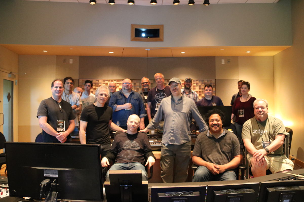 Oz and his master class attendees in the Sweetwater Studios Control Room