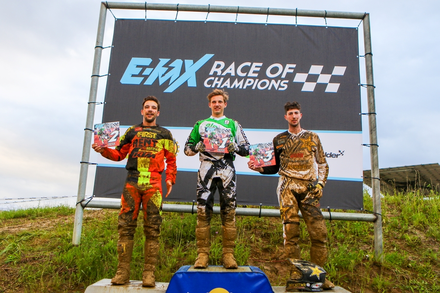 EMX Race of Champions podium from left to right: Kevin Wouts, Jorn Zoetekouw, Yentel Martens