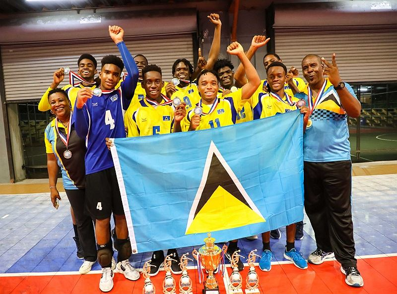 Saint Lucia's winning 2019 ECVA U21 Men's Team Photo courtesy NORCECA
