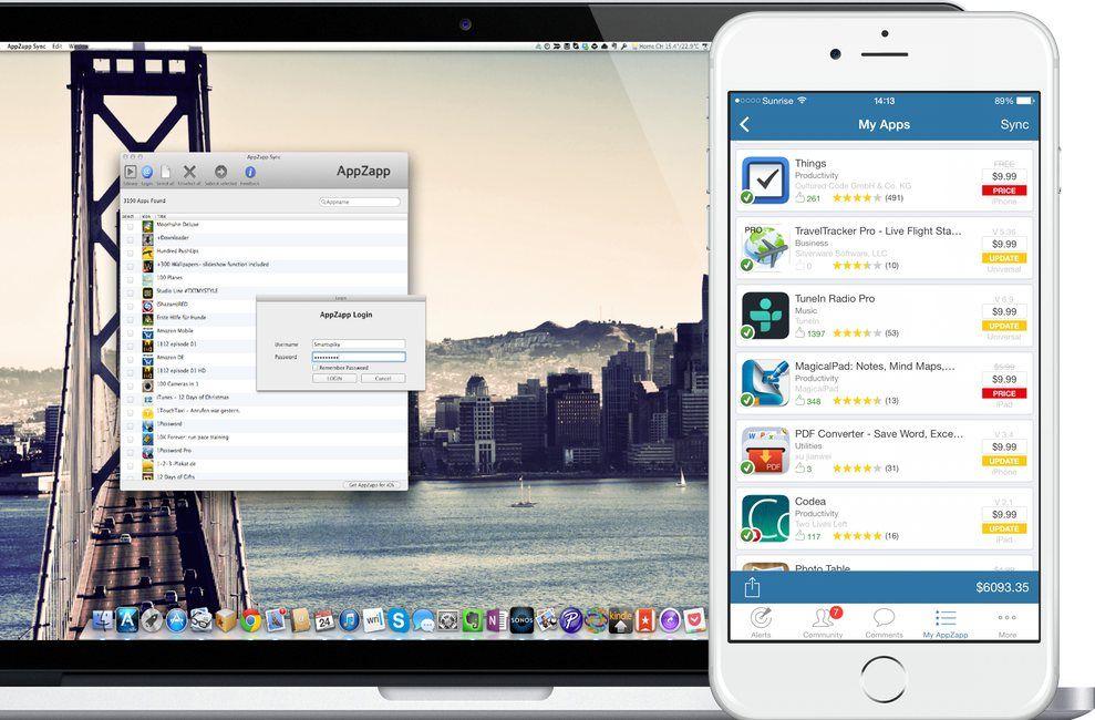 AppZapp Sync on Macbook & iPhone white