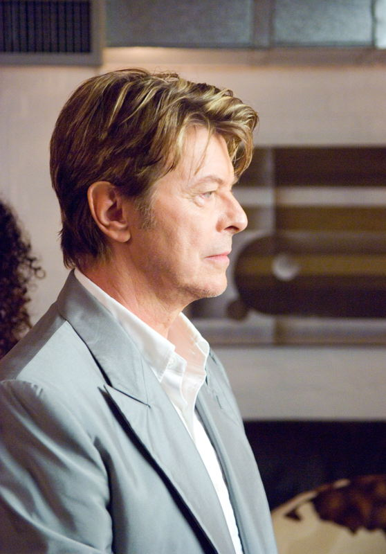 David Bowie on the set of Extras