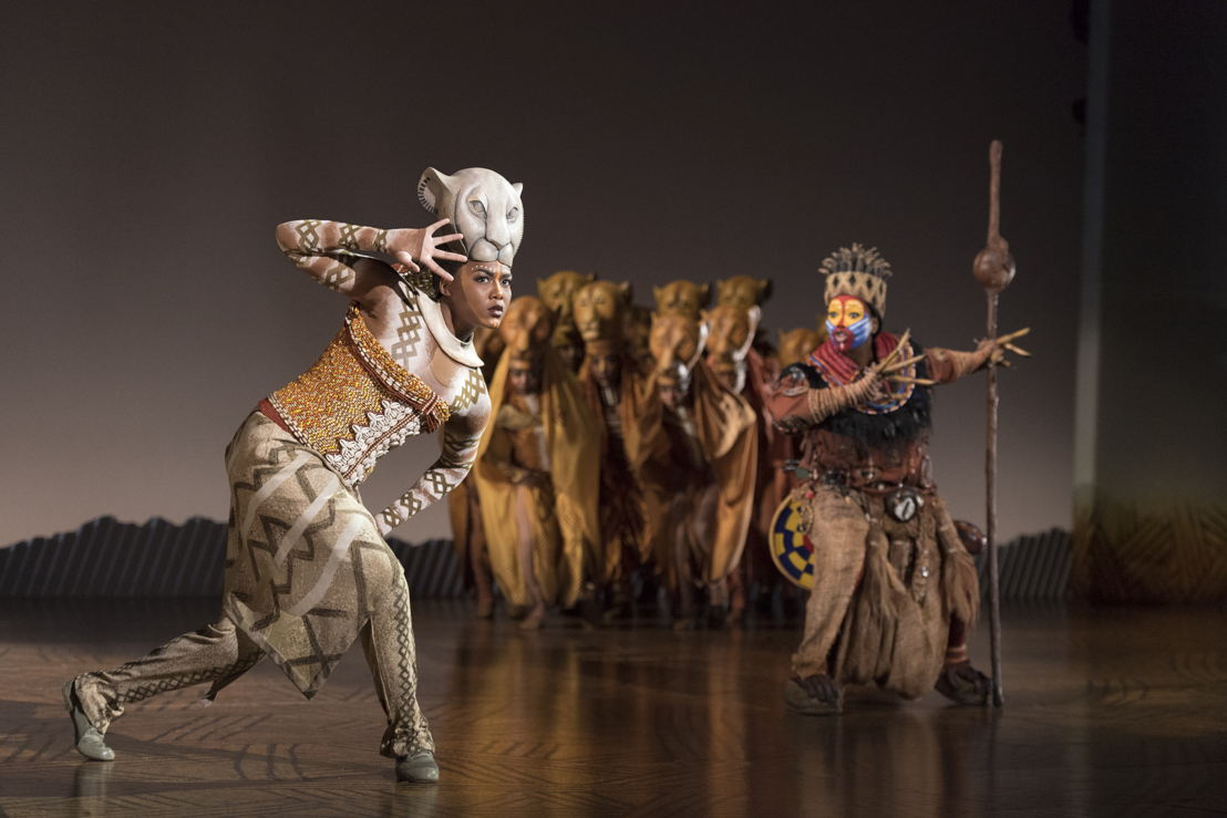 "Nia Holloway as ""Nala,"" Buyi Zama as ""Rafiki"" and ""The Lionesses"" in THE LION KING North American Tour.  ©Disney. Photo Credit: Deen van Meer"
