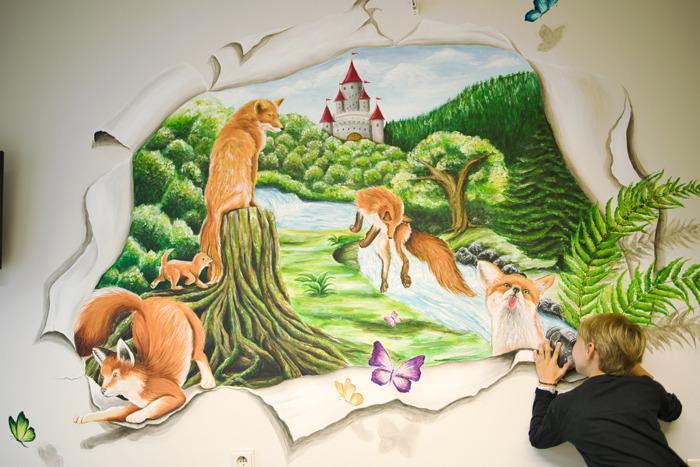Bijzondere 3D-muurschilderingen in de kinderkamers van het UZ Brussel