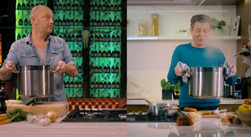 Viktor Verhulst kookt live mee met Dominique en Jani in de allereerste aflevering van Cook Ensemble op VIER