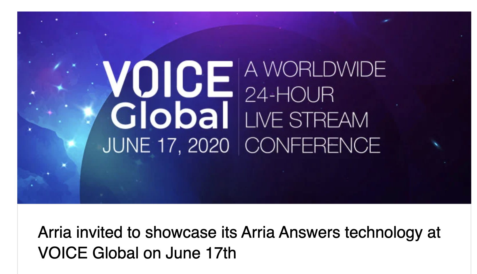 Arria invited to showcase its Arria Answers technology at VOICE Global on June 17th