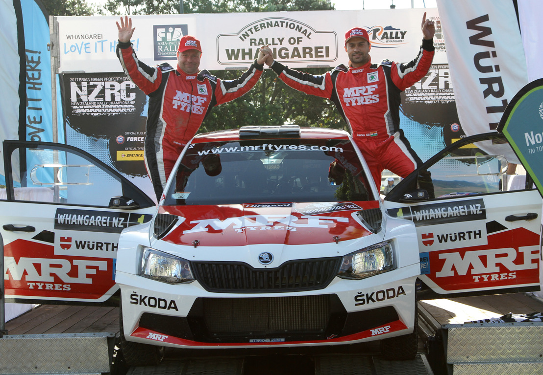 Double victory for Team MRF ŠKODA: Gaurav Gill wins APRC Rally of Whangarei ahead of Ole Christian Veiby