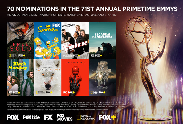 70 Nominations in the 71st Annual Primetime Emmys on FOX, FOX Life, FOX Movies, National Geographic and FOX+