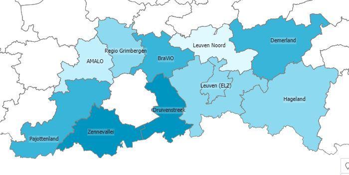 Overzicht van de Vlaams-Brabantse eerstelijnzones