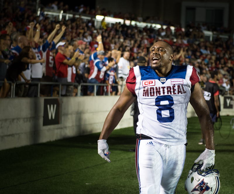 Nik Lewis, CFL All-Time Receptions Leader. Photo: Johany Jutras/CFL