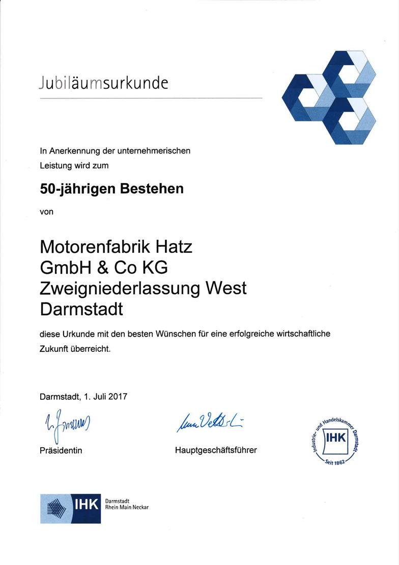 IHK Urkunde zum 50-jährigen Bestehen der Hatz Zweigniederlassung West in Darmstadt