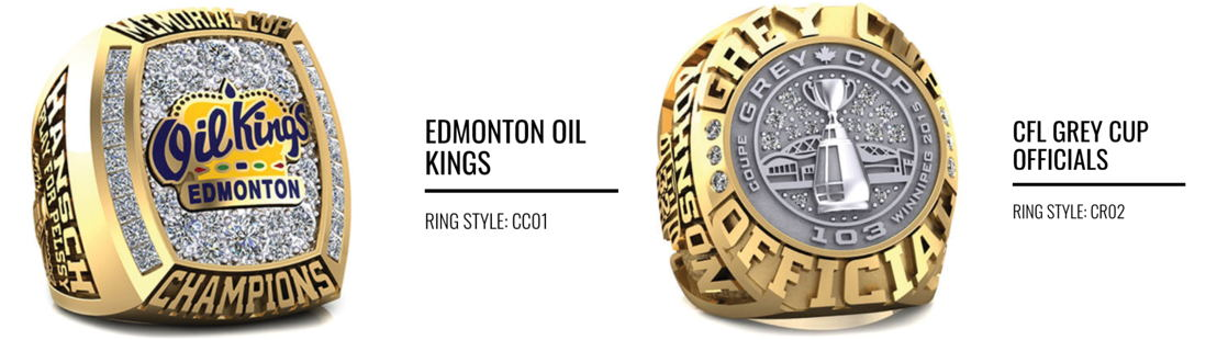 Example rings - Edmonton Oil Kings and CFL officials.
