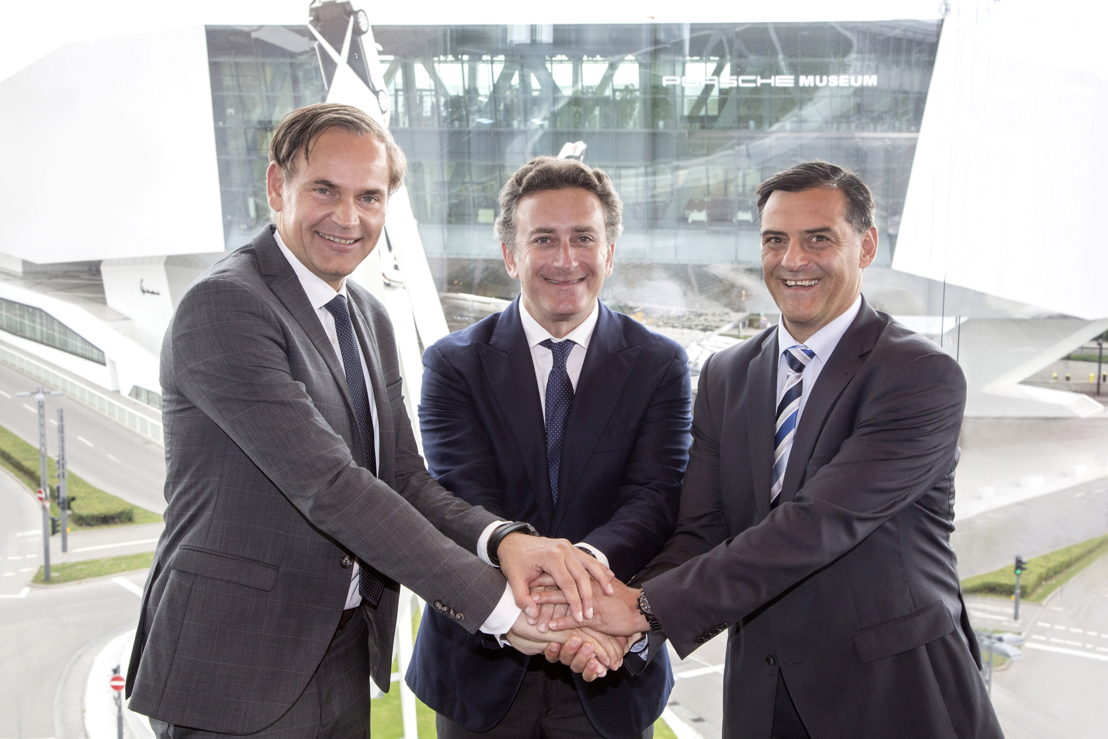 Oliver Blume (Chairman of the Executive Board of Dr. Ing. h.c. F. Porsche AG), Alejandro Agag (Founder & CEO of Formula E), Michael Steiner (Member of the Executive Board, Research and Development) l-r