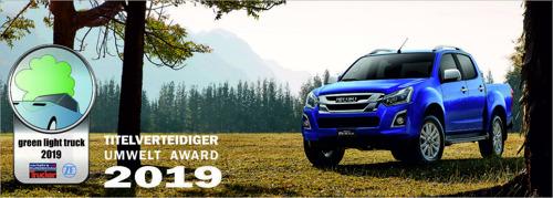 L'Isuzu D-Max se voit une fois de plus récompensé du titre « pick-up le plus éco-compatible » !
