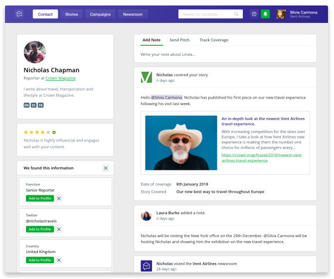 Prezly creates a Facebook-style profile for each of your contacts, showing latest conversations, engagement ratings, team notes and more