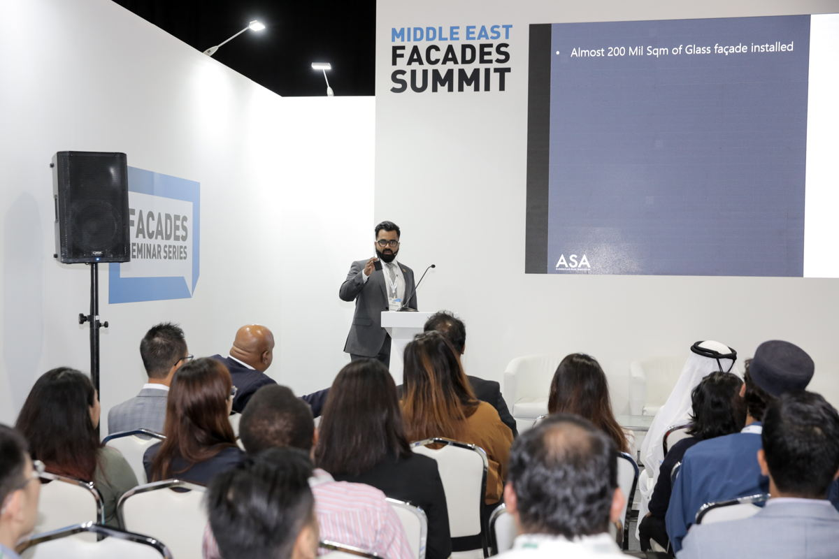 Anoop Babu, MENA Regional Manager of ASA, speaking at Middle East Facades Summit