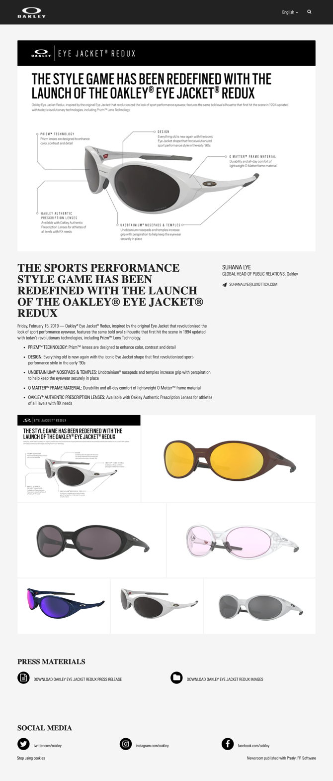 THE SPORTS PERFORMANCE STYLE GAME HAS BEEN REDEFINED WITH THE LAUNCH OF THE OAKLEY® EYE JACKET® REDUX