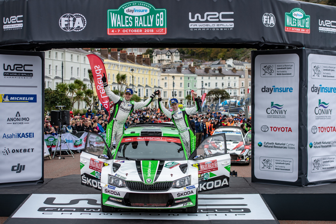Wales Rally GB: ŠKODA junior Kalle Rovanperä wins WRC 2 ahead of teammate Pontus Tidemand