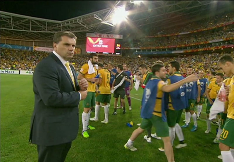 Ange Postecoglou on the field at Asian Cup