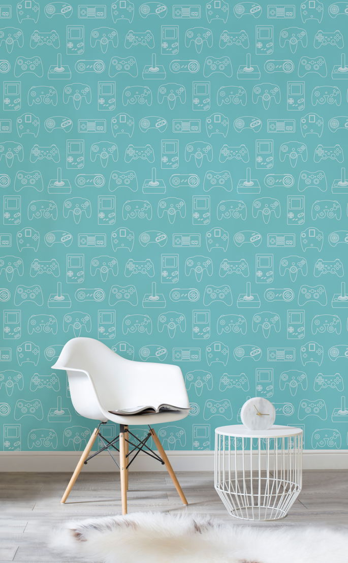 Blue Outline Retro Game Wall Mural