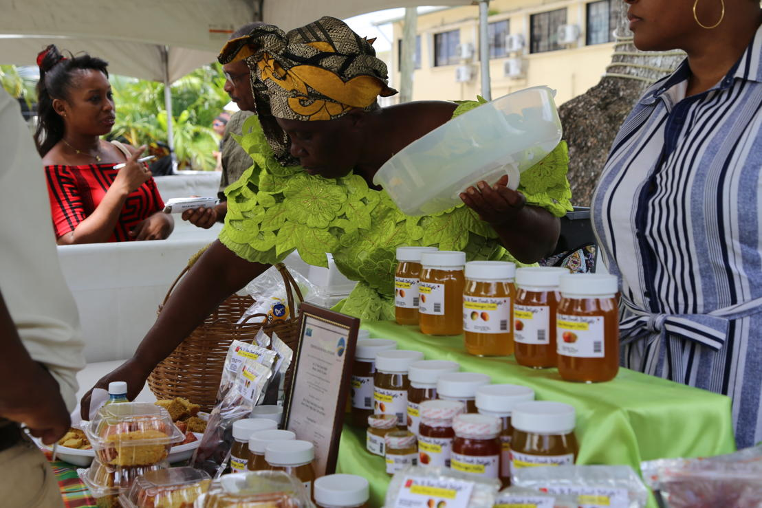 Saint Lucia Mango Festival - stand of mango jelly and mango cakes