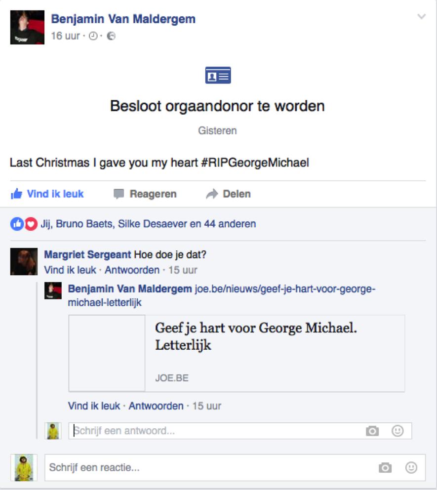 Facebookpost George Michael orgaandonor