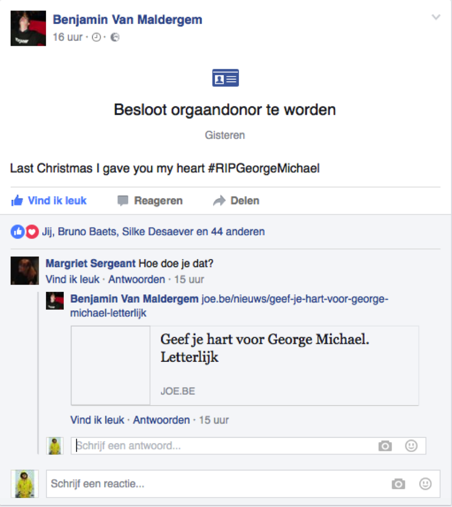 Facebookpost George Michael orgaandonor