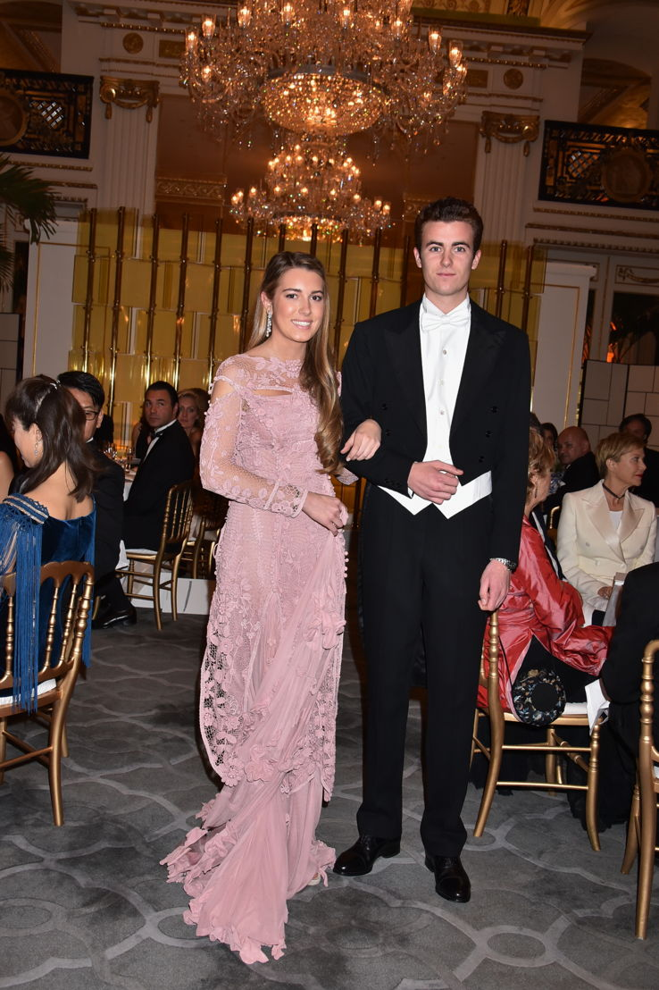 Daniela Figo (in Gaultier Paris and jewelry by Payal New York) with her cavalier Prince Gregorio Boncompagni Ludovisi, Photo by Jean Luce Huré