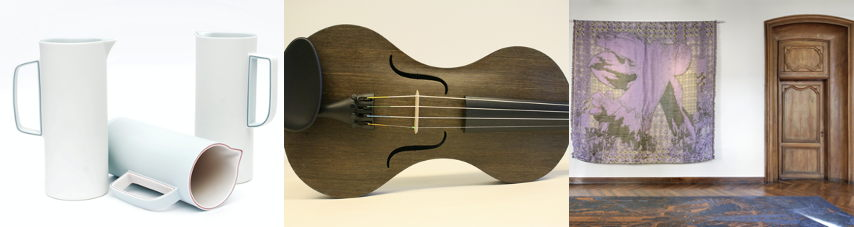 Winnaars Crafts Award: van links naar rechts: Lyne, Strijkinstrumenten uit vals en Caméléon.