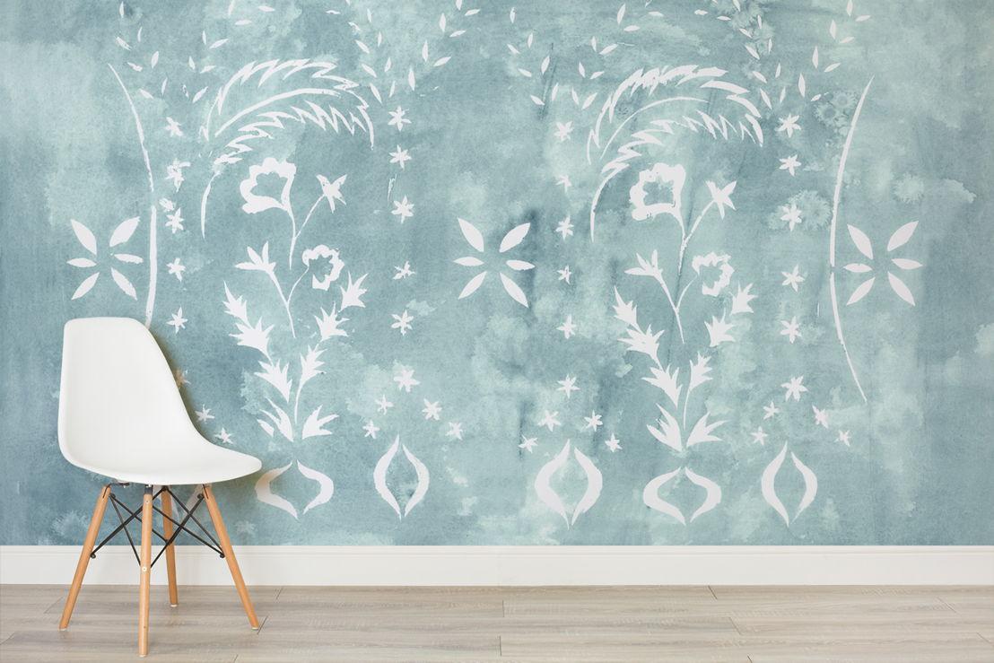 Floral Stencil Jade - Simple