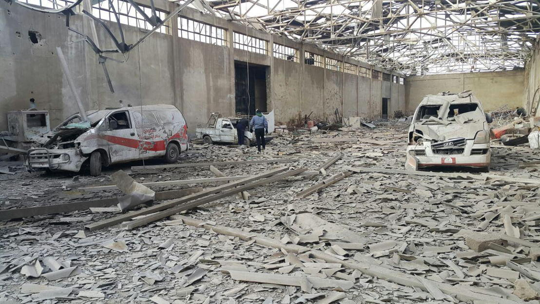 The last two functional ambulances in Al-Marj neighbourhood (in the East Ghouta besieged area near Damascus) were destroyed beyond repair in an aerial bomb attack on Monday 05 December 2016. They were parked in the hospital's warehouse/garage, very near to the makeshift hospital's location. Two hospital cars, used to transporting supplies and medical personnel, were also destroyed in the blast. The lack of ambulances will have an impact on the ability to quickly treat wounded when there is bombing or shelling in the area, but above all it will affect the capacity to refer the most sick patients to larger secondary referral hospitals. The makeshift hospital in Al-Marj is not equipped for complex or long-term in-patient hospital care, and this could have a big impact on the ability to refer patients for appropriate secondary care. Photographer: MSF