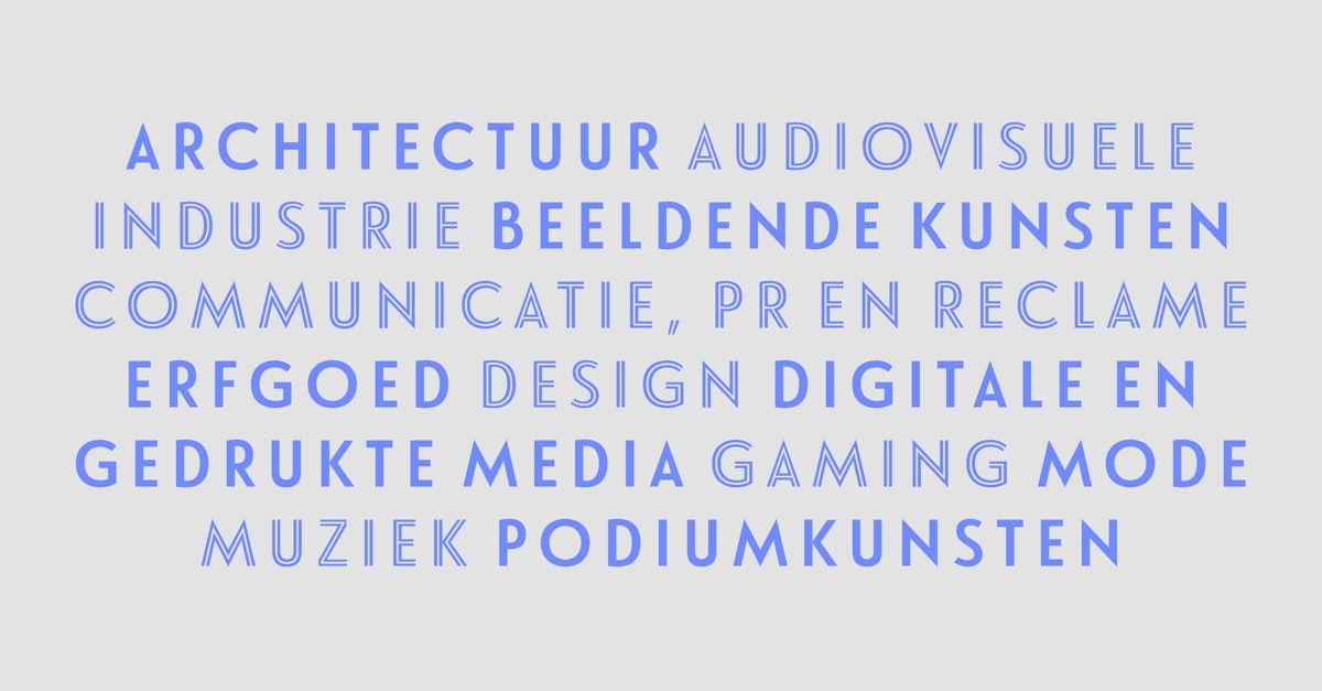 De 12 culturele en creatieve sectoren in Vlaanderen