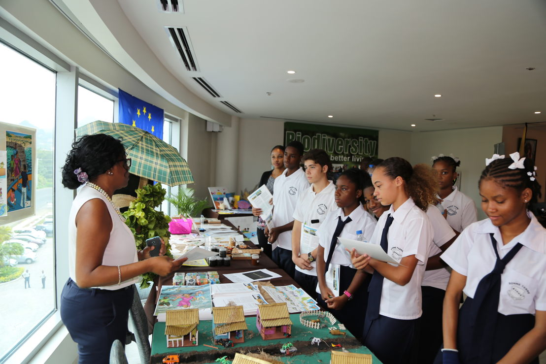 Students from Bonne Terre attend the exhibition to raise public awareness of the impacts of climate change on Small Island Developing States