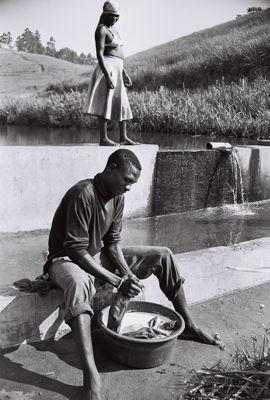 Man Washing Clothes by Andrew Tshabangu,Archival print, Ed of 10
