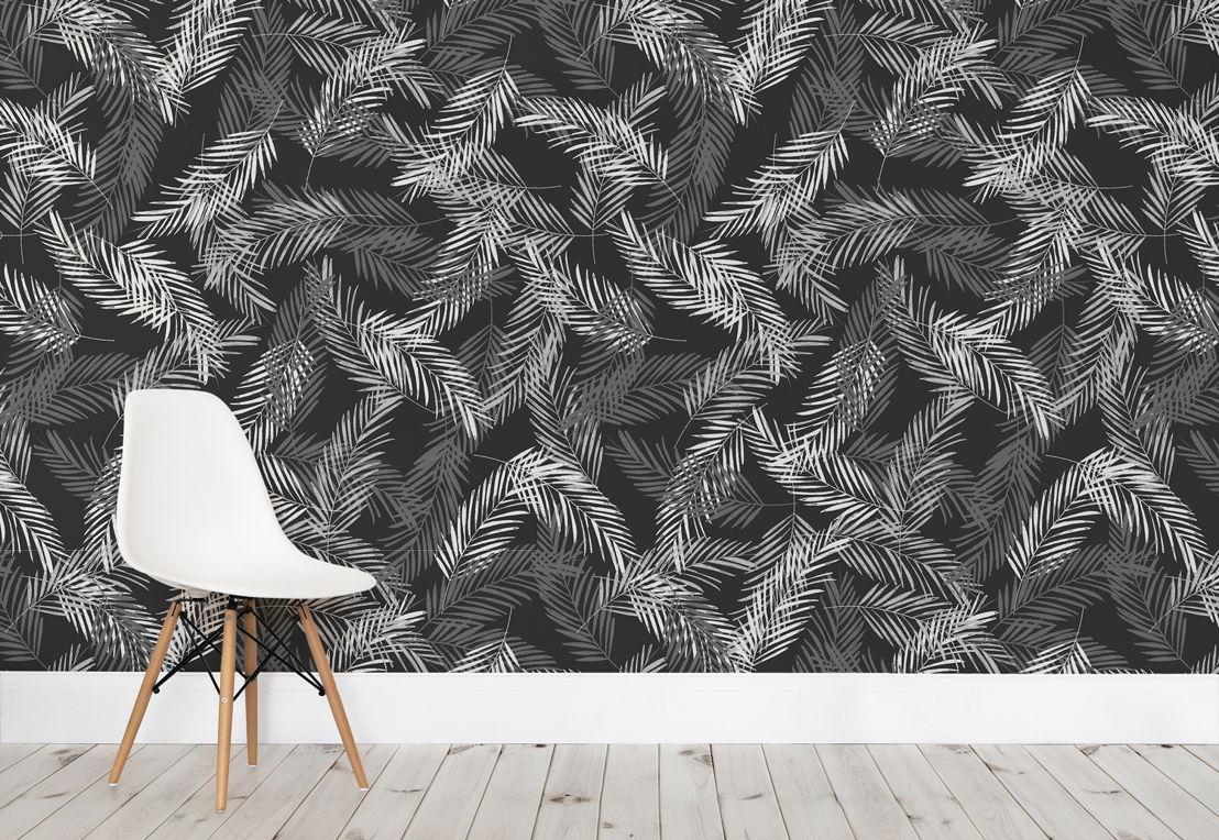 Grey Areca Palm Leaves Wallpaper Mural