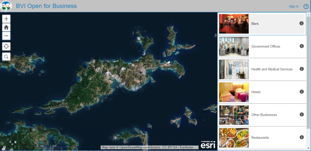 Satellite view of Tortola on the BVI Open for Business app.