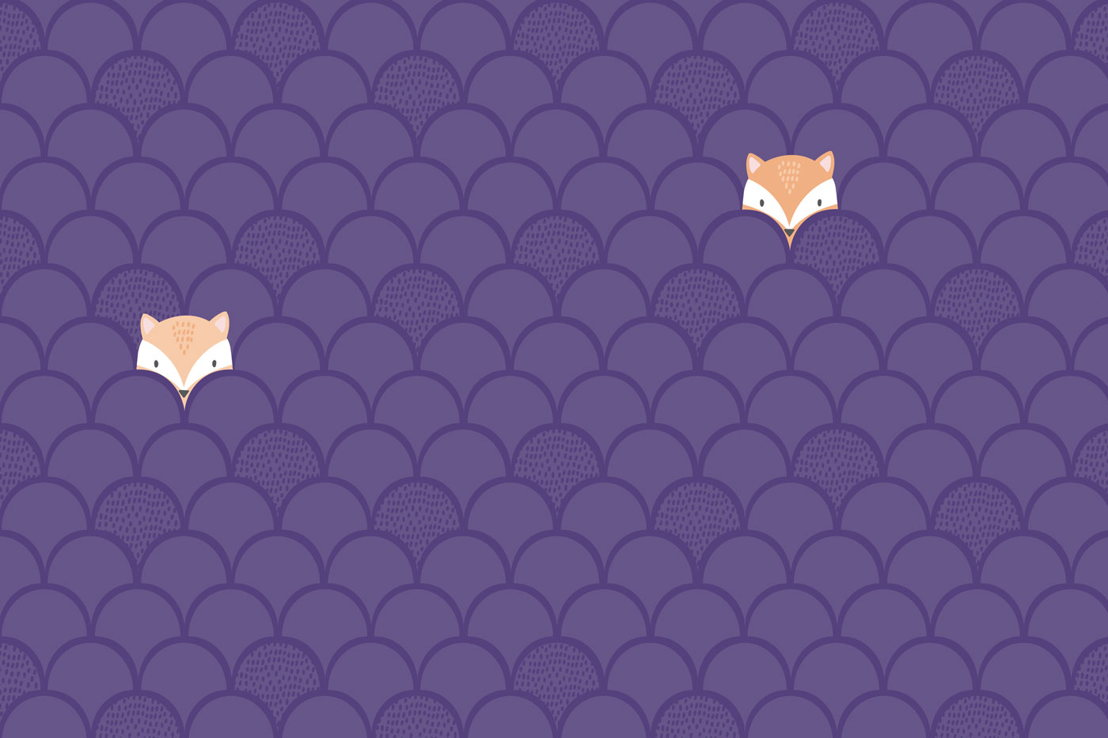 Kids Purple Pop Up Foxes Wallpaper Mural