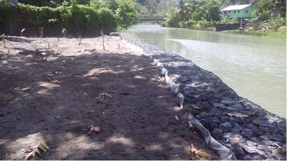 River Bank Stabilisation at Anse La Raye, St. Lucia.