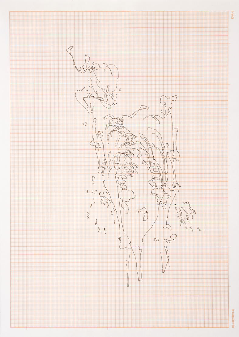 Meessen De Clercq_Nicolas Lamas_Eye tracking_2016_Drawing on graph paper_30,5x42,5 cm