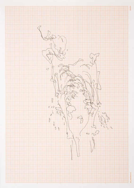Meessen De Clercq_Nicolas Lamas_Eye tracking_2016_Drawing on graph paper_30,5x42,5 cm