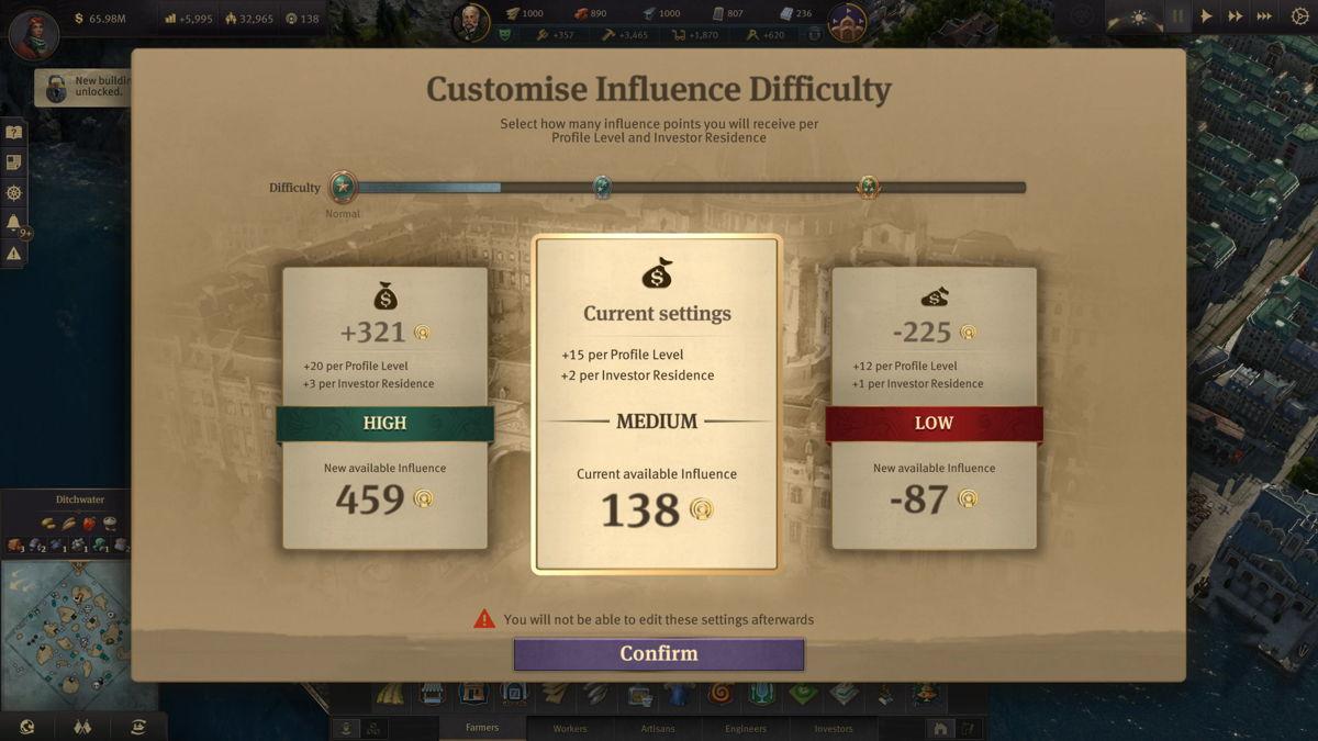 Mit drei separaten Schwierigkeitsgraden können Spieler wählen, wie viel Einfluss sie erhalten wollen.