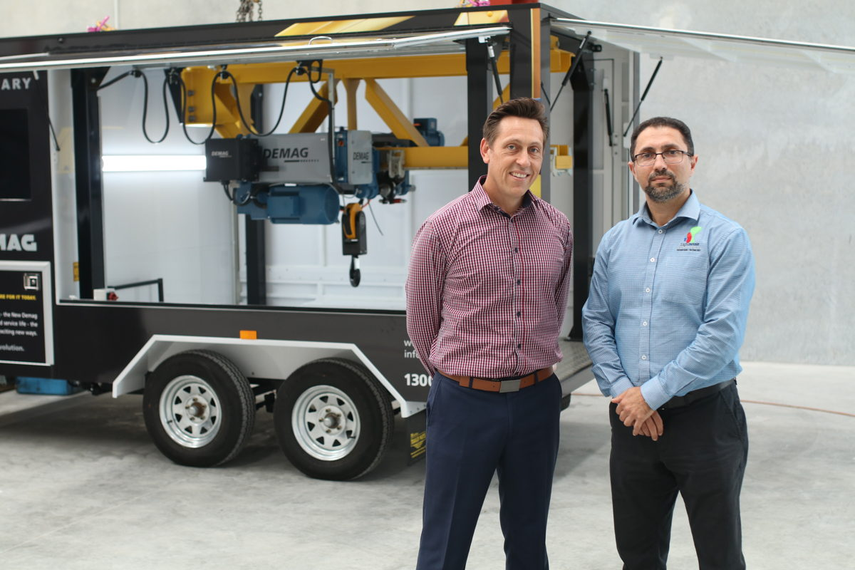 From left- Vince Di Costanzo, Managing Director of MHE-Demag Australia, and Basel Naser, Director of Lighthouse Engineering.