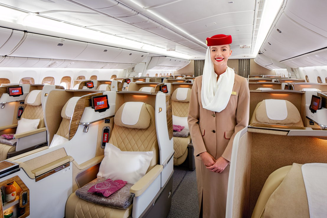 The newly refurbished Emirates 777-200LR aircraft is set in a two-class configuration which offers 38 Business Class seats