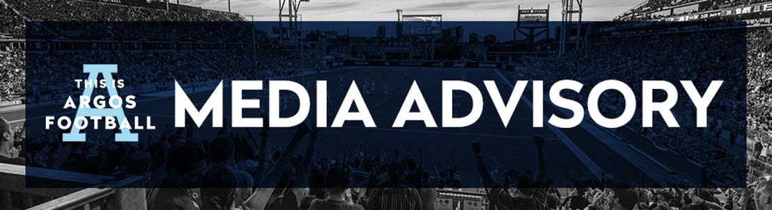 UPDATE - TORONTO ARGONAUTS PRACTICE & MEDIA AVAILABILITY SCHEDULE (AUGUST 1-AUGUST 4)